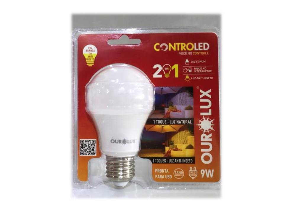 LAMPADA CONTROLED 2 STEPS 9W 6500K   ANTI INSETO (OUROLUX) COD : 22451