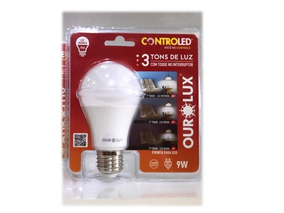 LAMPADA CONTROLED 3 TONS 9W BIV 6500K (OUROLUX) COD : 22452